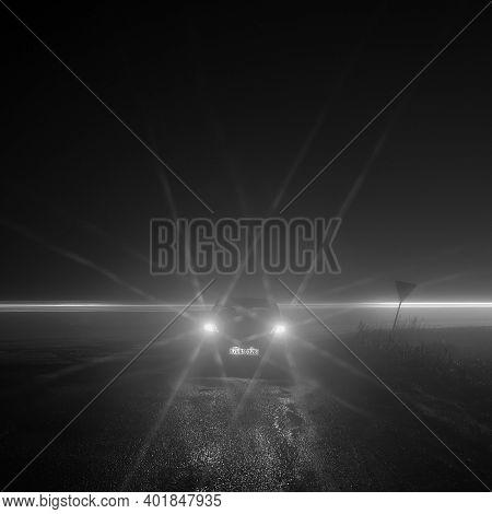 Pesvice, Czech Republic - December 21, 2020: Black Car Opel Astra In Foggy Night