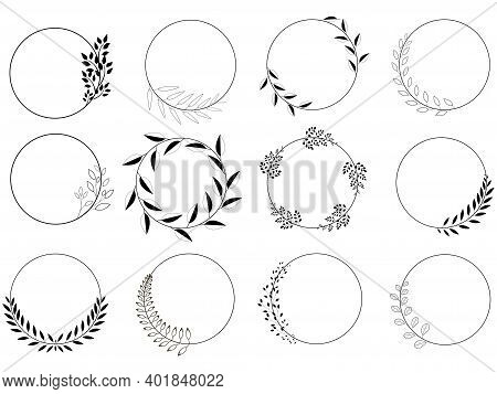 Set Of Round, Black Laurel Wreaths. Vector Logo Design Made From Leaves. Vintage Collection Of Vinta