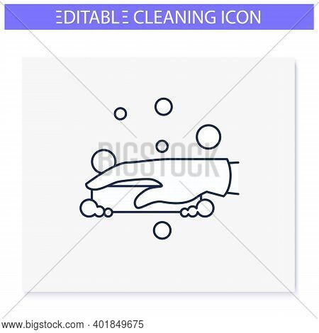 Soap Cleaning Line Icon. Soaping, Foaming. Housekeeper Hand With Soap. Wet Cleaning. Housekeeping An