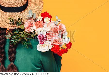 Young Woman In Green Dress And Wearing Straw Hat On Her Head Put, On Her Shoulder Beautiful Mix Of B