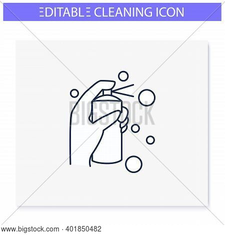 Cleaning Spray Line Icon.detergent, Cleanser, Sanitizer.housekeeper Hand In Glove With Bottle.wet Cl