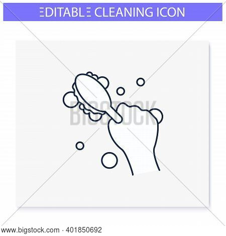 Cleaning Brush Line Icon. Wiping, Brushing. Housekeeper Hand With Round Brush. Wet Cleaning. Houseke