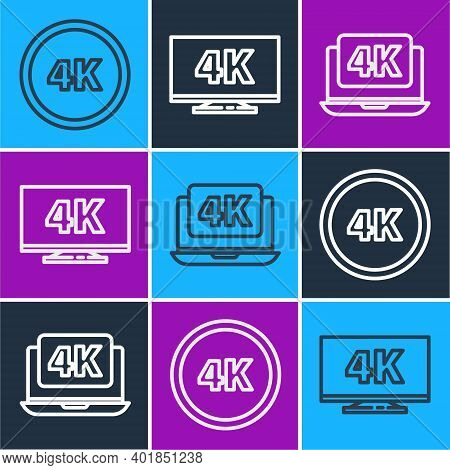 Set Line 4k Ultra Hd, Laptop With 4k Video And Screen Tv With 4k Icon. Vector