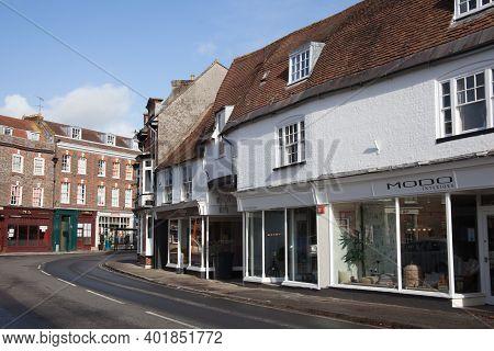 Shops On West Street, Blandford Forum, Dorset In The Uk, Taken On The 26th October 2020