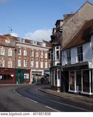 Views Of Commercial Properties On West Street In Blandford Forum, Dorset In The Uk, Taken On The 26t