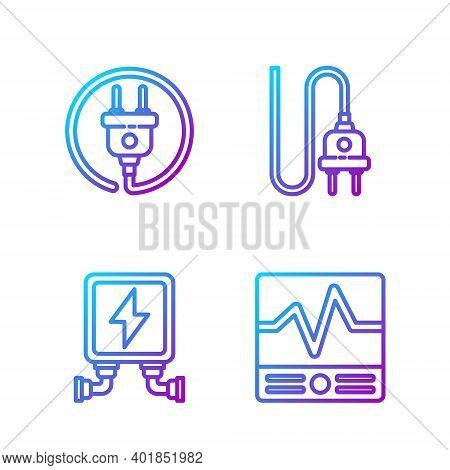 Set Line Electrical Measuring Instruments, Electric Transformer, Electric Plug And Electric Plug. Gr