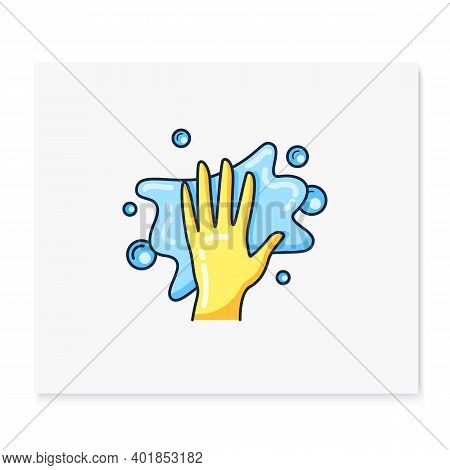 Cleaning Napkin Color Icon. Wiping With Cloth. Housekeeper Hand In Yellow Glove With Rag. Wet Cleani