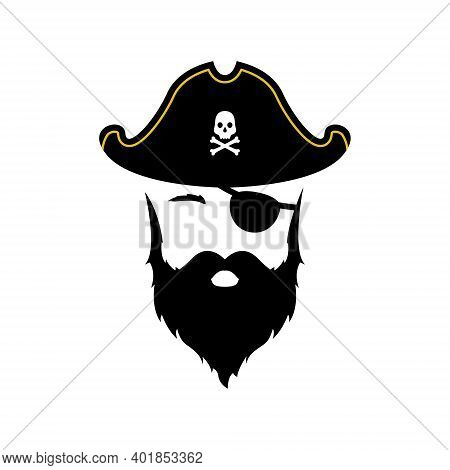 Pirate Man Icon Isolated On White Background. Flat Pirate Emblem. Vector Illustration.
