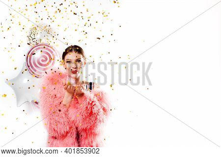 Funny Woman Celebrating With Air Balloons Isolated White. Shows Hand Okay. In A Pink Fur Coat, Golde