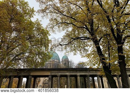 Berlin, Germany, 10 November 2019: Berlin Cathedral Distant View From The Gardens Of Welterbestätte