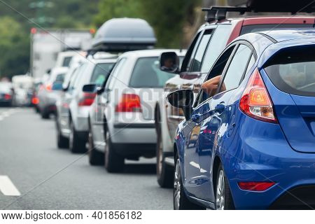 Picture Of A Row Of Cars In A Traffic Jam During Tourist Traffic