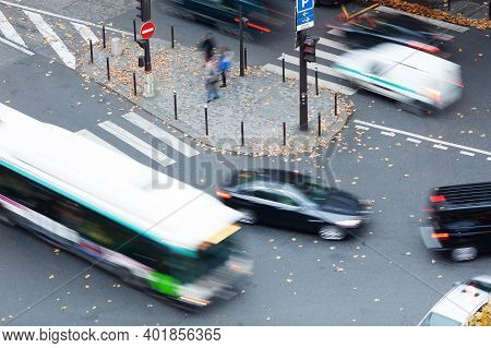 Aerial View Of City Traffic At An Intersection