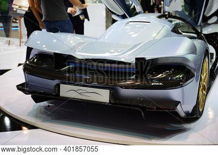 Dubai, Uae - November 16: The Aspark Owl Sports Electric Car Is On Dubai Motor Show 2019 On November