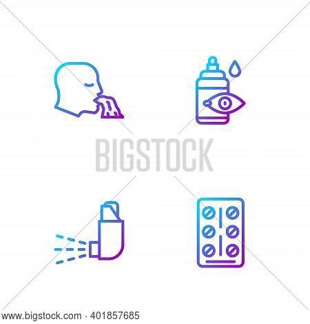 Set Line Pills In Blister Pack, Inhaler, Vomiting Man And Eye Drop Bottle. Gradient Color Icons. Vec