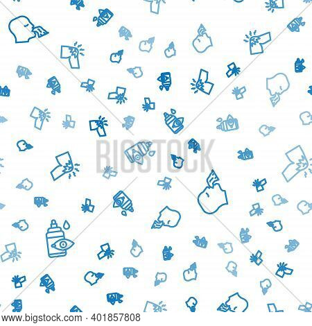 Set Line Eye Drop Bottle, Vomiting Man And Joint Pain, Knee Pain On Seamless Pattern. Vector