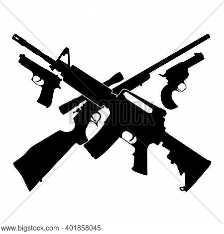 Guns Pistols And Crossed Rifles With 13 Stars Isolated Vector Illustration
