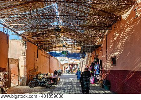Marrakesh, Morocco - January 21, 2019: Street Of City Marrakesh In Morocco, January 21, 2019
