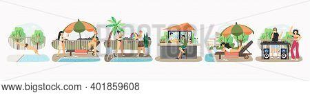 Pool Party Set Of Vector Illustration. Summer Vacation At Poolside. Happy People Swim In Swiming Poo