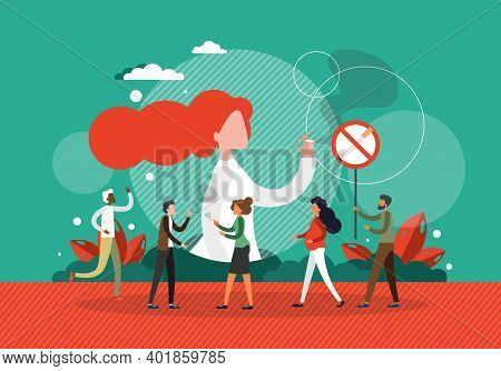 People Smoke Next To No Smoking Sign. Tobacco Addiction And Passive Smoking Concept Vector Illustrat