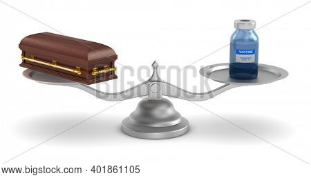 vaccine from covid-19 and coffin on scale. Isolated 3D illustration on white background