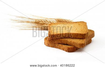 Wheat corn and bread slices.