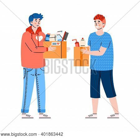 Volunteers Collect Household And Hygiene Goods For People In Need, Cartoon Vector Illustration Isola