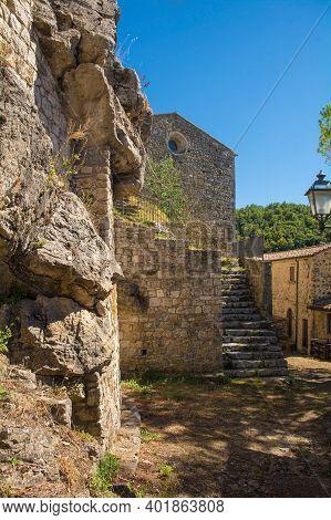 The 13th Century Church Pieve Di Santa Cristina In The Historic Village Of Rocchette Di Fazio Near S