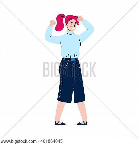 Angry Furious Businesswoman Or Freelancer Standing Full Length, Cartoon Flat Vector Illustration Iso