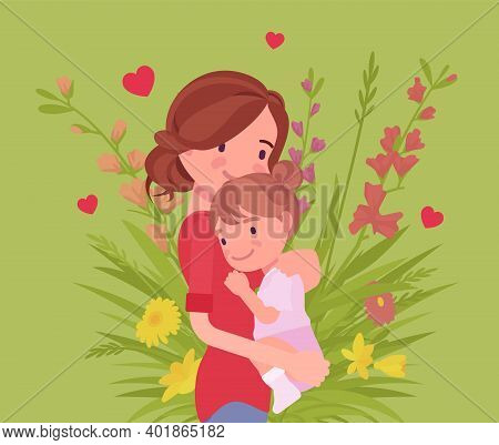 Mom And Baby Daughter, Female Health In Happy Family. Mother Hugging Child, Emotional Bonds, Love, M