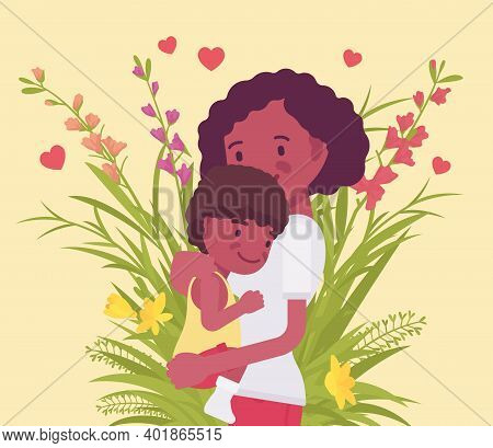 Mom, Baby Son, Female Health In Happy Black Family. Mother Hugging Child, Emotional Bonds, Love, Mot