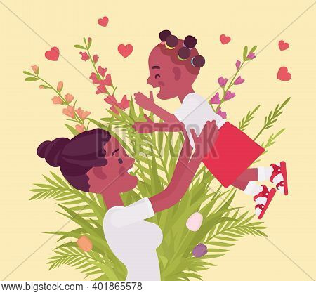 Mom, Baby Daughter, Female Health In Happy Black Family. Mother Tossing Child, Emotional Bonds, Love