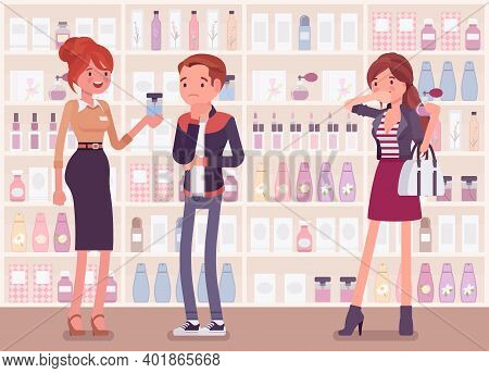 Choosing Perfume, Finding Fragrance In A Store With Female Sales Assistant. Man Puzzled With Sample