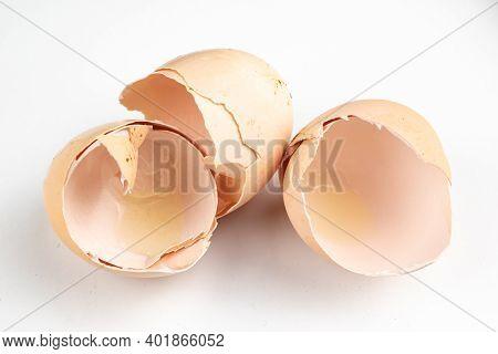 Eggshells Of Beaten Chicken Eggs On A White Background