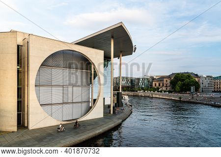 Berlin, Germany - July 28, 2019: Panoramic View Of Marie-elisabeth-luders-haus Building In Governmen