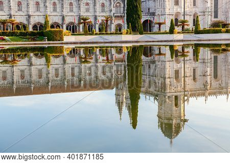 Reflection Of The Jeronimos Monastery In Lisbon, Portugal