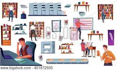 Flat Icons Set With Publishing House Equipment Shelves With Books Book Shop Writer Customer Isolated