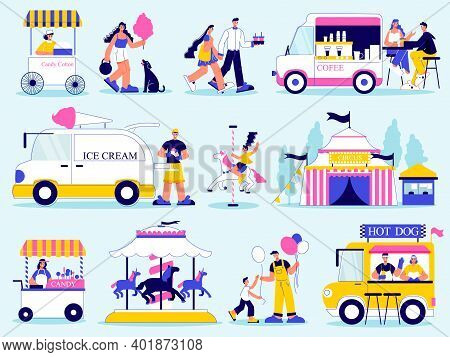 Funfair Amusement Park Color Set With Isolated Doodle Characters With Attractions And Vans Selling J