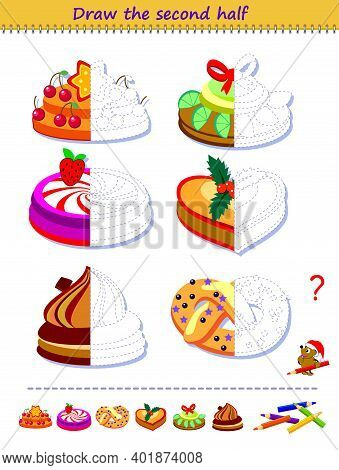 Educational Page For Little Children. Logic Puzzle Game. Draw The Second Half Of Delicious Christmas