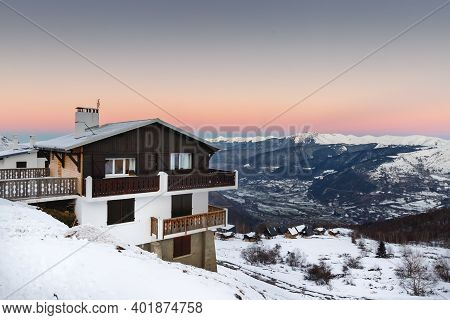 Mountain Chalet In A Snowy Ski Resort Of Saint Lary Soulan