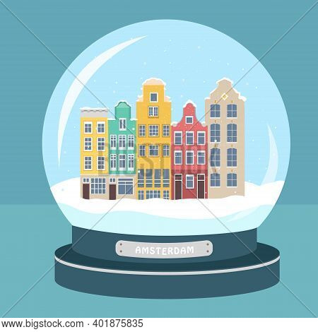 Snowball. Amsterdam City In The Snow In Winter. Illustration In Flat Style. Can Be Used In Web Desig