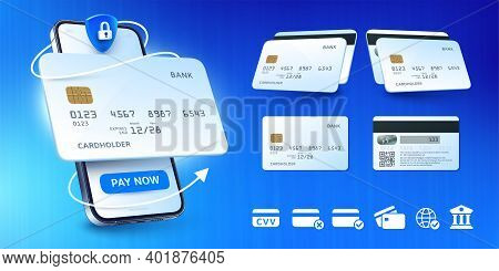 Buy By Card, Online Payment App For Smartphone And Bank Cards Mockup Vector Illustration Set.