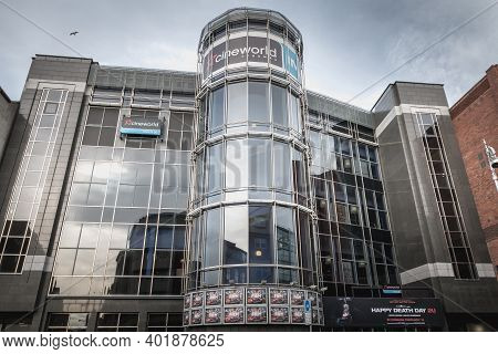 Dublin, Ireland, February 12, 2019: Facade Of Cineworld Complex In Dublin City Center On A Winter Da