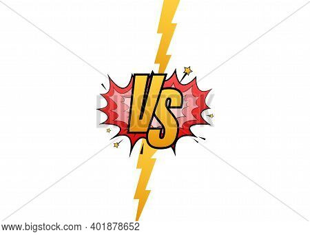 Vs Versus Blue And Red Comic Design. Battle Banner Match, Vs Letters Competition Confrontation. Vect