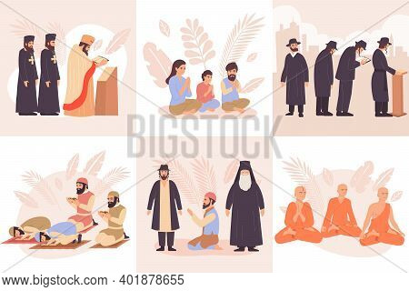 World Religions Composition Flat Icon Set With Praying Buddhists Christians Jews And Muslims Vector
