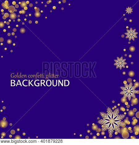 Gold Confetti Glitter And Snowflakes Background. Winter Magic Sparkling Vector Illustration