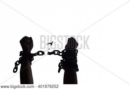 International Day For The Remembrance Of The Slave Trade And Its Abolition Concept: Silhouette Slave