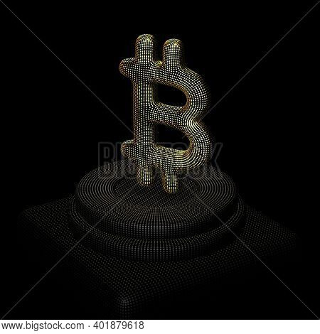 Golden 3d Bitcoin Sign Standing On Pedestal. Concept Of Blockchain Technology, Crypto Investment Bus