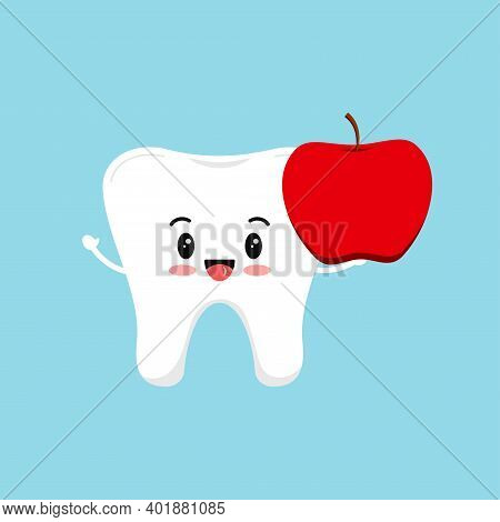 Cute Tooth With Apple Food For Dental Health. Strong White Tooth With Fresh Fruit. Children Teeth Hy