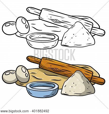 Rolling Pin And Dough. Wooden Appliance For Kitchen And Cooking. Kneading Dough