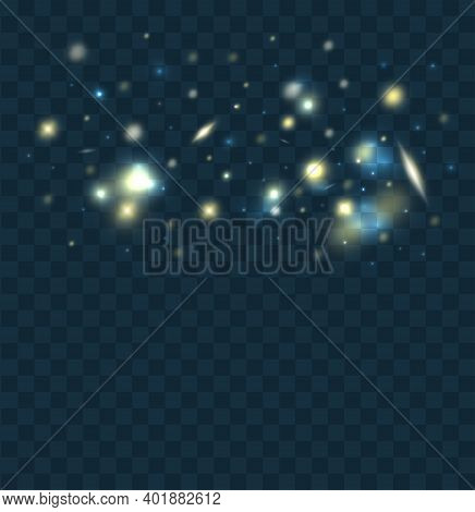 Glowing Light On A Transparent Background. Shiny Particles. Magic Sparks. Glow Effect For Festive Ba